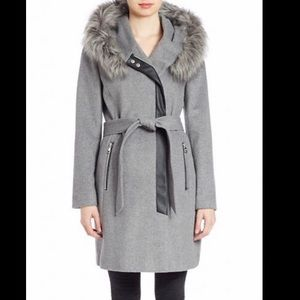 Karl legarfeld grey coat with faux fur hood